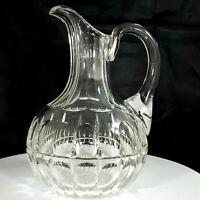 Victorian Era Cut Crystal Water Carafe Flute Neck Thumbprint Design Star Bottom