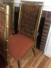 4 Daystrom Hollywood Regency Faux Bamboo Metal & Wicker Dining Chairs NJ Pickup