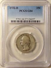 "1932-D Washington Quarter - PCGS G04 - ""KEY DATE"" - Nice Looking Coin -FREE SHIP"