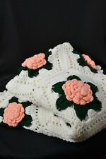 "Vtg Handmade Crochet 3D Peach Rose Afghan Throw Blanket 54"" x 72"" Granny Square"