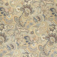 A0025D Blue White Gold Abstract Durable Floral Upholstery Fabric By The Yard