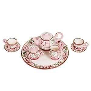 Isabelle Sweetheart Pink Floral Design Porcelain Children's 10 pc. Tea Party Set