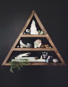 Handmade Triangle Wall Shelf Display Crystal Shelf Wood Walnut