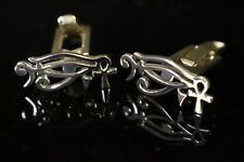 Men's Silver cufflinks Egyptian bass clef eye of Ra eye of horus