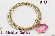 Coppia Bracciali Charm Cristallo Rosa Mesh Placcato oro B 22