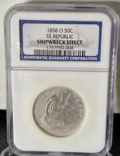 1858-O SEATED LIBERTY SILVER HALF DOLLAR-SS REPUBLIC SHIPWRECK-NGC-Treasure