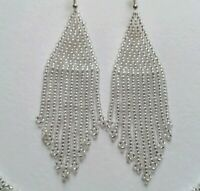 Silver Earrings Fringe Beaded Earrings Long Seed Bead earrings Silver Seed bead