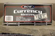 100 BCW CURRENCY SLEEVES 2 MIL ACID FREE REGULAR DOLLAR BILL BANKNOTE SLEEVE