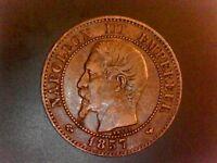 Deux CENTIMES Napoléon III, tête nue 1857 Lille F.107/51 - SUP++/SPL