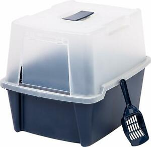 Large Navy Cat Litter Box Pan Enclosed Hooded Covered Kitty House Cover Scoop