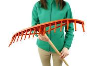 63cm Wide Heavy Duty Plastic Rake Head Lawn Leaf Leaves Garden + 115cm Handle
