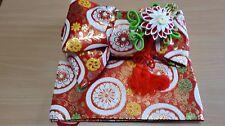 Japanese Kimono Pre-tied OBI Maru ni Kiku Flowers for children PO07)