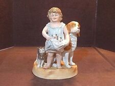 Wonderful Antique Victorian Bisque Figural Group Cat, Dog, Kittens & Girl