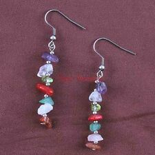 Natural Druzy Quartz Crystals 7 Stone Chakra Healing Point Dangle Reiki Earrings
