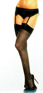 Glamory Italian Made Stockings 2X or 4X Plus Size Sheer Silky w/Toes Black 50131