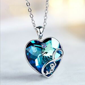 Collana Donna Cuore Blu Swarovski Elements Originale Catenina Incisione Love