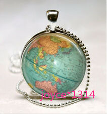 Vintage World Map Cabochon Tibetan silver Glass Chain Pendant Necklace #580