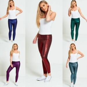 Women's Fish Scale Mermaid Leggings Ladies Metallic Shiny Sparkle Disco Pants
