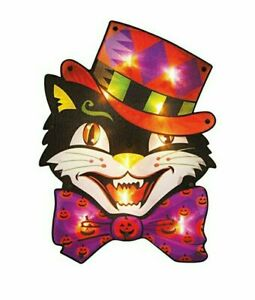 Halloween Cat with Hat Lighted Vintage Window Silhouette Decoration