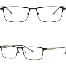 Leichte Herren Damen RX Brille Eckig Brillengestell Titan Metall Fassung Schwarz