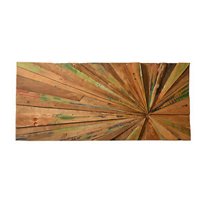 Wandbild Balok 2 aus Teakholz Wand Deko Natur Holz Holzwand Bild Holzbild Art