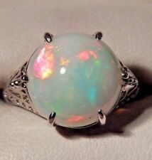 6.10 Ct. Round Cabochon Rainbow Opal Filigree Sterling Silver Ring Free Sizing