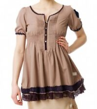 Odd Molly 447 taupe brown short sleeve cotton top tunic size 3