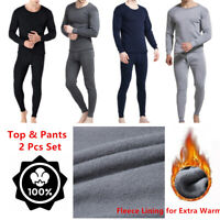 100% Cotton Men Winter Thermal Fleece Lined Long Johns Top Bottom Underwear Set