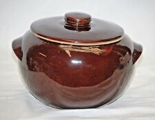 Old Vintage Stoneware Pottery Double Handled Bean Pot w Lid Brown ~ USA b