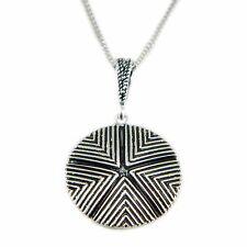 Collana con pendente simbolo Sa Pintadera sarda in argento brunito