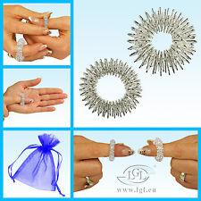 2er Set Fingermassageringe Finger Massageringe Energie Ring Wellness - Silber