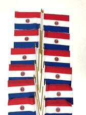 Paraguay Small 4 X 6 Inch Country Stick Flags Banner with 10 Inch Plastic Pol
