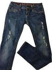 ROCK REVIVAL Womens Sz 28 CHRISTINA SKINNY Blue Jeans Denim Rhinestones