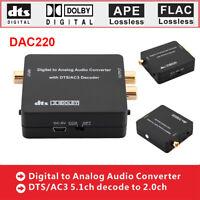 Digital to Analog Audio Converter Fiber Optical Coaxial DAC SPDIF 2.0ch Decoder
