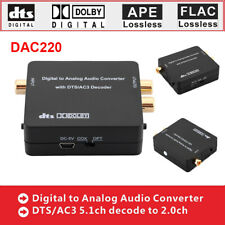 Digital to Analog Audio Converter Box DTS AC3 Decoder 5.1ch Fiber Coaxial Black