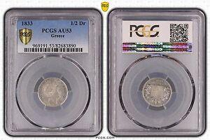 GREECE RARE SILVER 1/2 DRACHMA COIN 1833 YEAR KM#19 PCGS GRADING AU53