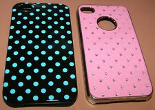 Lot of 2 cases for Apple iPhone 4/4s, 1 hard shell Bling, 1 soft Blue Polkadot
