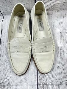 Bally Loafers Shoes Made in Italy White Size 8 Vintage