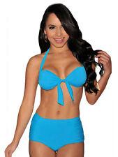 Sexy Bikini Para mujeres Damas Cintura Alta Traje de Baño Halter Azul Talla 8 10