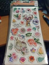 CHIPBOARD STICKERS WITH FOIL/SHEET IS 28X14 CM NEW (D)
