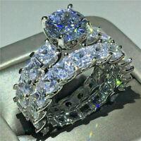 2.50 Ct Round Cut Diamond Wedding Band Engagement Ring Set 14K White Gold Over