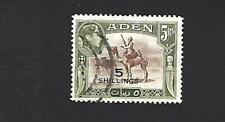 ADEN 1951 GEORGE VI, NEW CURRENCY, 5S ON 5R PICTORIAL STAMP, SG.45 CAT £17+, VGU