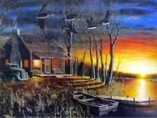"Sundown Cabin Canadian Goose  Art Print By Jim Hansel  Image Size 16"" x 12"""