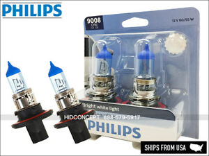 NEW! PHILIPS 9008 H13 Crystal Vision Ultra HID LOOK Bulbs 9008CVB2 PAIR 12V DOT