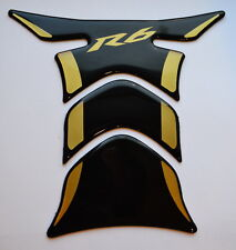 Yamaha YZF R6 R-6 Piano Black + matt Gold tank Protector pad Decal Sticker trim