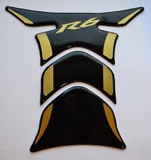 Yamaha YZF R6 R-6 Piano Black + matt Gold tank Protector pad Decal Sticker trim