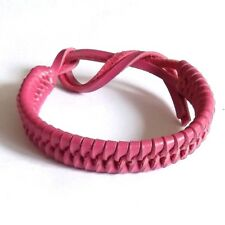 BRIGHT PINK REAL LEATHER ADJUSTABLE FRIENDSHIP BRACELET WRISTBAND TIE ON STRAP