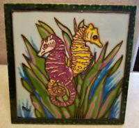 Vintage Art Tile Seahorses in Sea Grass Textured Art Deco MCM Pottery