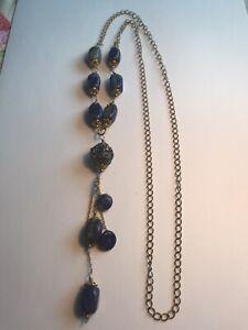 Vintage Lapis Lazuli Brass Tone Women Flapper Necklace - VGC - Free P&P