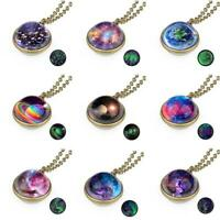 Glow in the Dark Galaxy System Double Sided Glass Dome Planet Necklace Pendants